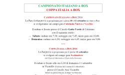 Raduni Campionato Italiano e Coppa Italia a Box